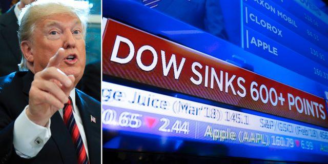 Arkivbilder: Trump, röd dag på Wall Street. TT