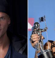 """Tim """"Avicii"""" Bergling/Rita Ora tar emot priset för """"Lonely together"""" under nattens gala.  TT"""