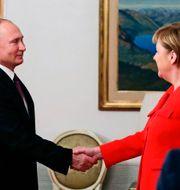 Vladimir Putin och Angela Merkel Mikhail Klimentyev / TT NYHETSBYRÅN/ NTB Scanpix
