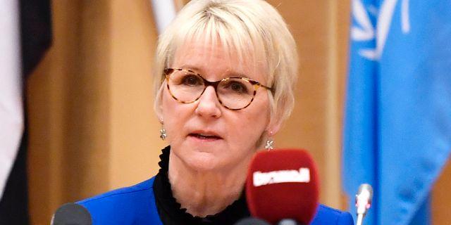 Utrikesminister Margot Wallström (S) och FN:s särskilde sändebud Martin Griffith. Stina Stjernkvist/TT / TT NYHETSBYRÅN