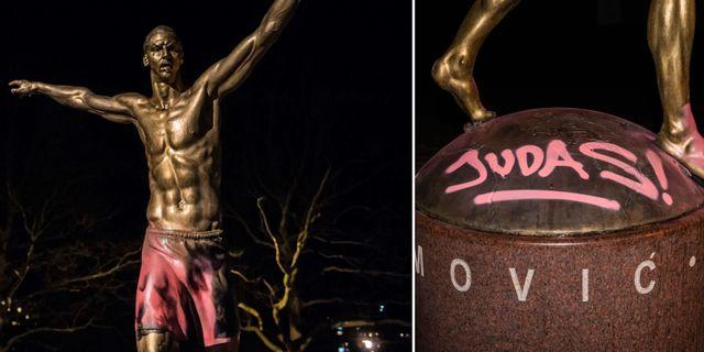 Zlatan Ibrahimovics staty fotograferad på måndagskvällen. Bildbyrån