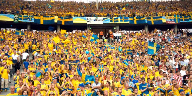 Den gula väggen under Sverige–Paraguay i VM i Tyskland 2006. Tomas Oneborg / SvD / TT / SVENSKA DAGBLADET