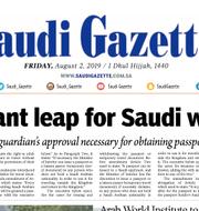 Saudi Gazettes förstasida på fredagen.  Saudi Gazette