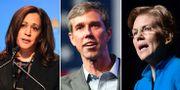Kamala Harris, Beto O'Rourke och Elizabeth Warren.  TT