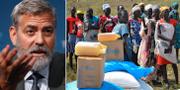 George Clooney och invånare i Sydsudan som tar emot livsmedel från FN. TT