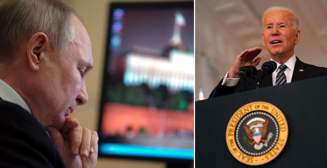 Arkivbilder. Vladimir Putin (t v) och Joe Biden (t h). TT
