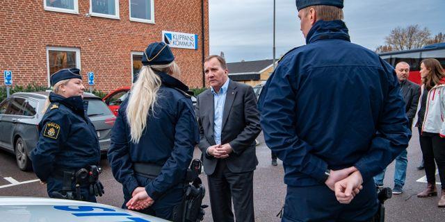 Statsminister Stefan Löfven (S) besöker kommunpoliserna i Klippan på onsdagen Johan Nilsson/TT / TT NYHETSBYRÅN