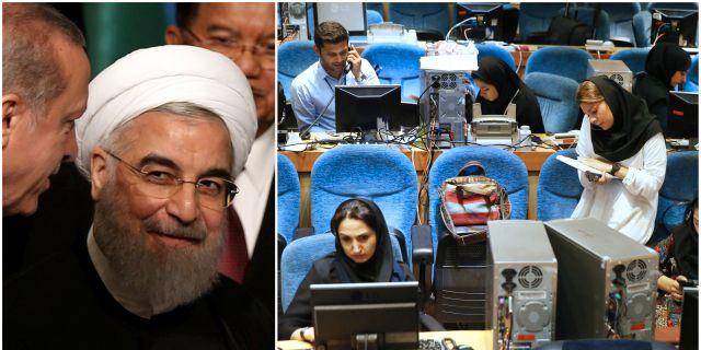 Hassan Rouhani, journalister som arbetar med valet i Iran. TT