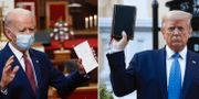 Joe Biden. Donald Trump poserade med bibel. TT