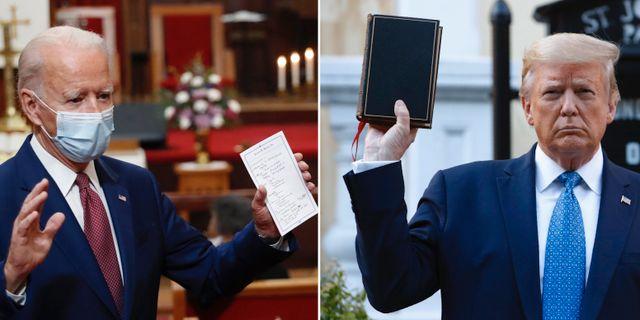 Joe Biden. Donald Trump poserade med bibel. TT