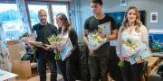 Räddningstjänsten Storgöteborg delar ut utmärkelsen rådigt ingripande till Lennart Andreasson, Patricia Downes, Raphael Storck och Siobhan Andreasson. Björn Larsson Rosvall/TT / TT NYHETSBYRÅN