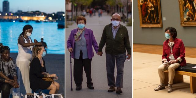 Hårklippning i Marseille/Äldre par i Barcelona/ Muséebesökare i Bryssel  TT/AP