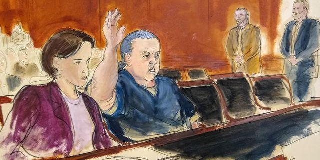 En skiss från rättegången i november. Elizabeth Williams / TT NYHETSBYRÅN/ NTB Scanpix