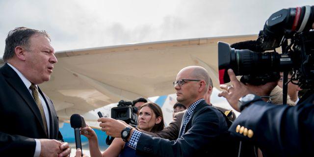 Mike Pompeo möter pressen efter sina två dagar i Nordkorea. POOL / TT NYHETSBYRÅN