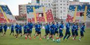 Kosovos landslag tränar på arenan i Shkodra i oktober. Visar Kryeziu / TT / NTB Scanpix