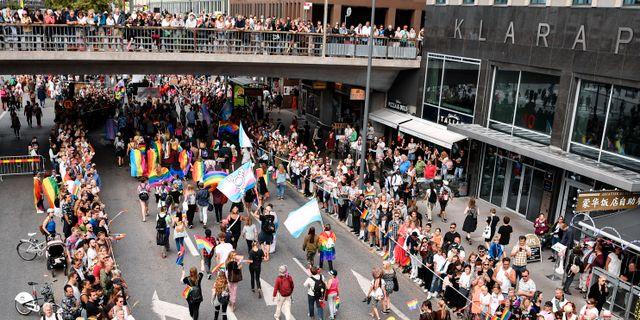 Pride-tåget i Stockholm. Erik Simander/TT / TT NYHETSBYRÅN