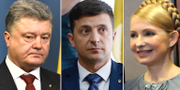 Petro Porosjenko, Volodymyr Zelensky och Julia Tymosjenko. TT