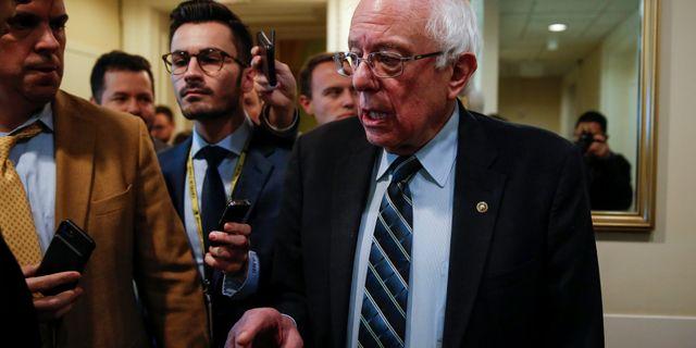Bernie Sanders efter omröstningen. JOSHUA ROBERTS / TT NYHETSBYRÅN