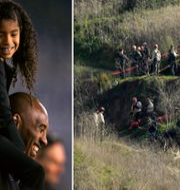 Kobe Bryant med dottern Gianna-Maria 2014/räddningspersonal vid olycksplatsen. TT