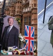 Minnesceremoni för David Amess utanför parlamentet och misstänkte Ali Harbi Ali TT/Övervakningsbild