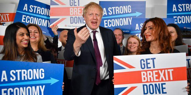 Boris Johnson under sin valkampanj.  Ben Stansall / TT NYHETSBYRÅN