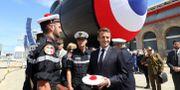 Macron besöker en av den franska flottans u-båtar. LUDOVIC MARIN / AFP
