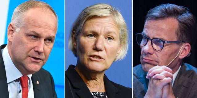 Jonas Sjöstedt (V), Ann-Marie Begler, och Ulf Kristersson (M).  TT