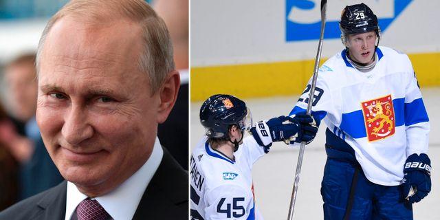 Vladimir Putin och Patrik Laine.  TT.