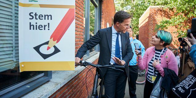 Nederländernas premiärministern Mark Rutte intervjuas.  Phil Nijhuis / TT NYHETSBYRÅN