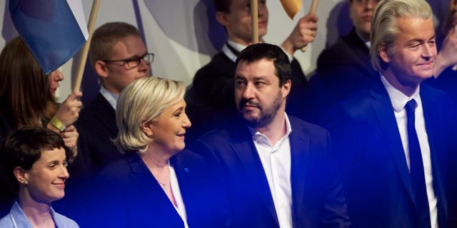 Högerpopulister i Europa. Tyska AFD:s Frauke Petry, Marine Le Pen från Nationell samling,  Lega-ledaren Matteo Salvini och nederländska högerpopulisten Geert Wilders, 2017.  Thomas Frey / TT NYHETSBYRÅN