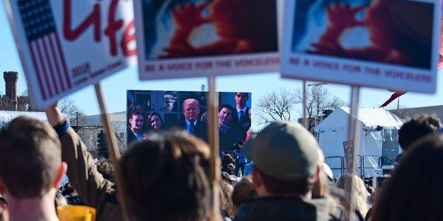 Donald Trump talar till demonstranterna via videolänk. EVA HAMBACH / AFP