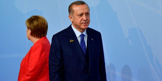 Angela Merkel och Recep Tayip Erdogan. 17 juli.  TOBIAS SCHWARZ / AFP