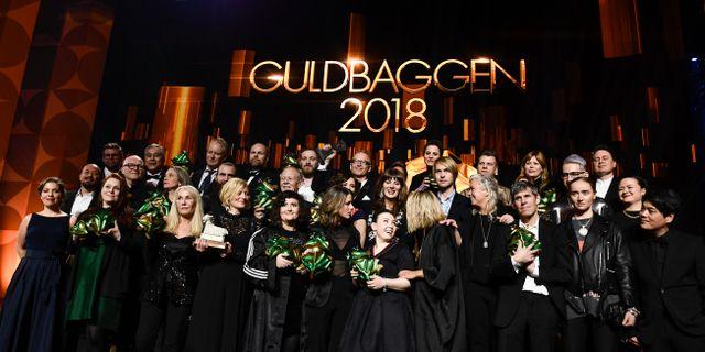 Gruppbild på årets guldbaggevinnare vid Guldbaggegalan 2018 på Cirkus i Stockholm. Pontus Lundahl/TT / TT NYHETSBYRÅN