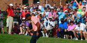 Tiger Woods hade anledning att jubla på torsdagen. John Amis / TT NYHETSBYRÅN/ NTB Scanpix