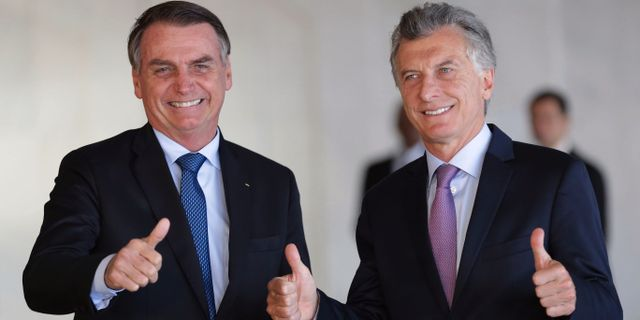 Arkivbild: Jair Bolsonaro och Argentinas president Macri. Eraldo Peres / TT NYHETSBYRÅN/ NTB Scanpix