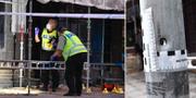 Polisen arbetar på platsen för trippelmordet i måndags. TT