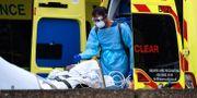 Brittisk sjukvårdare tar hand om en patient. Alberto Pezzali / TT NYHETSBYRÅN