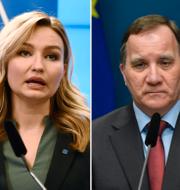 KD-ledaren Ebba Busch, statsminister Stefan Löfven (S) och C-ledaren Annie Lööf.  TT.