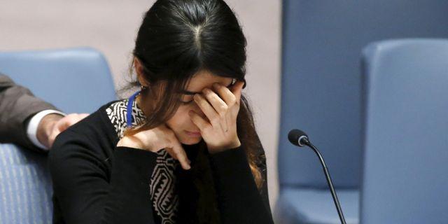 21-åriga Nadia Murad Basee vittnar i FN:s säkerhetsråd om hur hon var IS sexslav. EDUARDO MUNOZ / TT NYHETSBYRÅN
