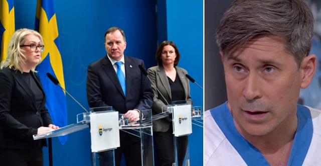Lena Hallengren (S), Stefan Löfven (S), Isabella Lövin (MP). Till höger, Erik Salaneck.  TT/SVT