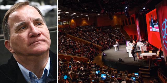 Stefan Löfven och bild från S-kongressen i år. TT