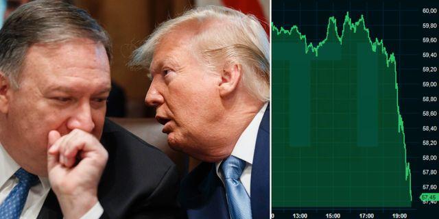 Pompeo och Trump. Oljepriset på tisdagskvällen. TT/Infront