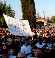 Demonstranter i  Nicosia, Cypern.  Petros Karadjias / TT NYHETSBYRÅN