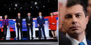 Elizabeth Warren, Joe Biden, Bernie Sanders, Pete Buttigieg och Amy Klobuchar. Saknas på bild gör den sjätte debattören Tom Steyer.  TT