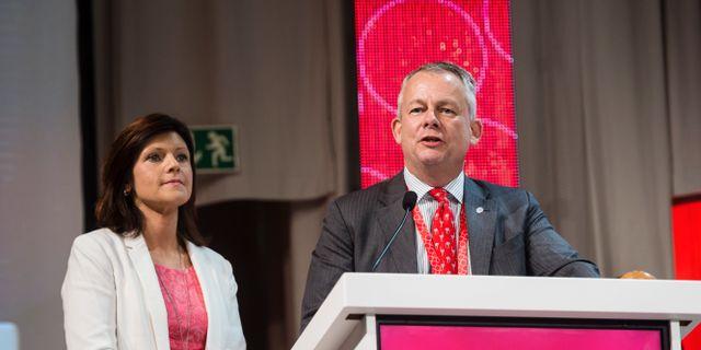 Arkivbild: TCO:s ordförande Eva Nordmark tillsammans med Sacos ordförande Göran Arrius. Vilhelm Stokstad/TT / TT NYHETSBYRÅN