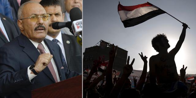 Ali Abdullah Saleh, demonstrant i Sanaa. TT