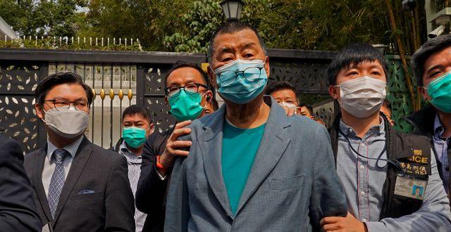 Mediemogulen Jimmy Lai är en av de gripna. Vincent Yu / TT NYHETSBYRÅN
