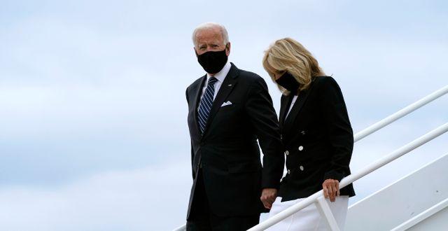 Joe Biden och hans fru Jill Biden i New Castle 11 september. Patrick Semansky / TT NYHETSBYRÅN