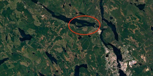Platsen där olyckan inträffade. Google Earth