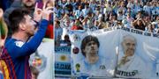 Messi och fans som visar bilder av fotbollsstjärnan intill påven. TT